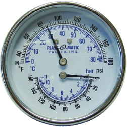 Stainless steel tridicator provides temperature and pressure gauge in one